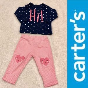 """HI"" PJ set pink & blue Carter's EUC Size: 9M"